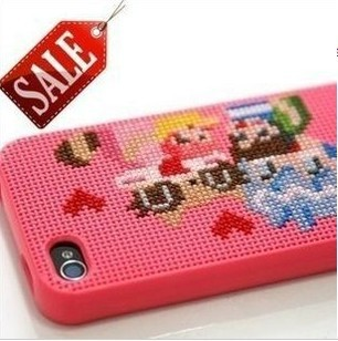 25pcs/lot,Cross Stitch DIY TPU mobile phone case for iphone 4 4S 5 5S with retail packaging,Free shipping!!!