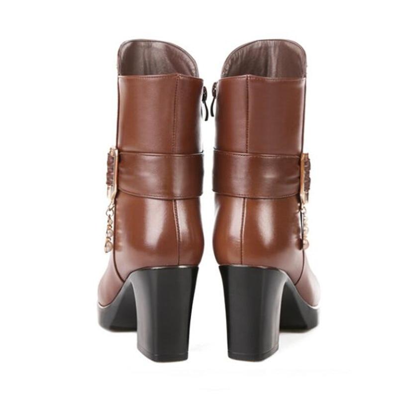 Las Mujer Moda Lana 2018 Zapatos Una Mujeres Cuero Invierno Comodidad marrón Antideslizante Martin Negro Vaca De Botas Nuevas Caliente nqwgBF47