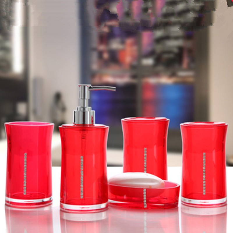 Wedding Bathroom Set Elegant Creative Luxury Red White Black Delicate Bath Accessories With Diamonds Home Decorative In Sets From