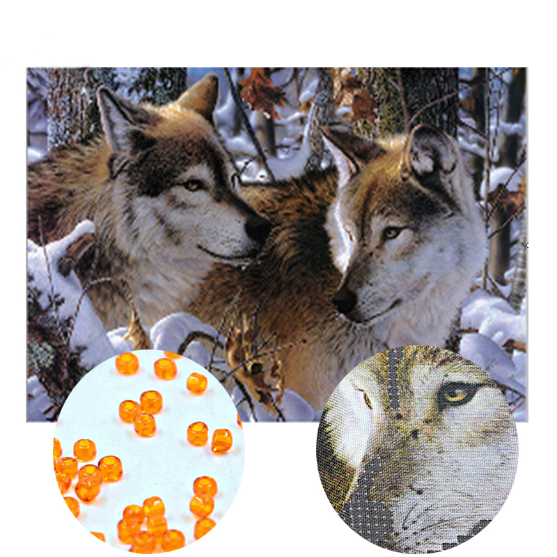 Needlework,DIY bead Cross stitch,Embroidery stitch Snow wolf,women Precise Printed animal Pattern cross stitching ...