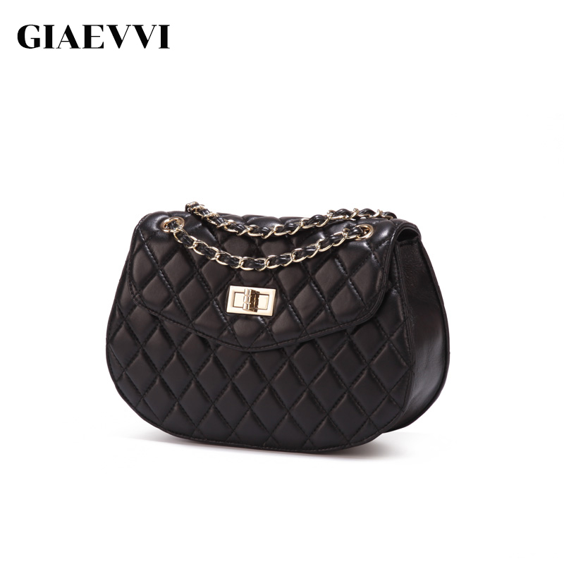 GIAEVVI Women Leahter Handbag Designer Crossbody Chain Bags Genuine Leather Small Shoulder Bag Sheepskin genuine leather studded satchel bag women s 2016 saffiano cute small metal rivet trapeze shoulder crossbody bag handbag