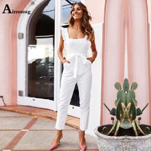 Summer casual rompers womens jumpsuit Solid Ruffle Slim overalls Bandage Backless long pants square neck belted white jumpsuits