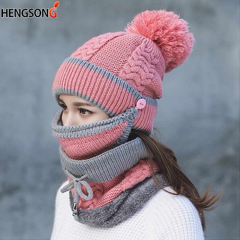 Autumn Winter Women's Knit Hat Caps Warm Scarf Windproof Multi Functional Hat Scarf Set For Women