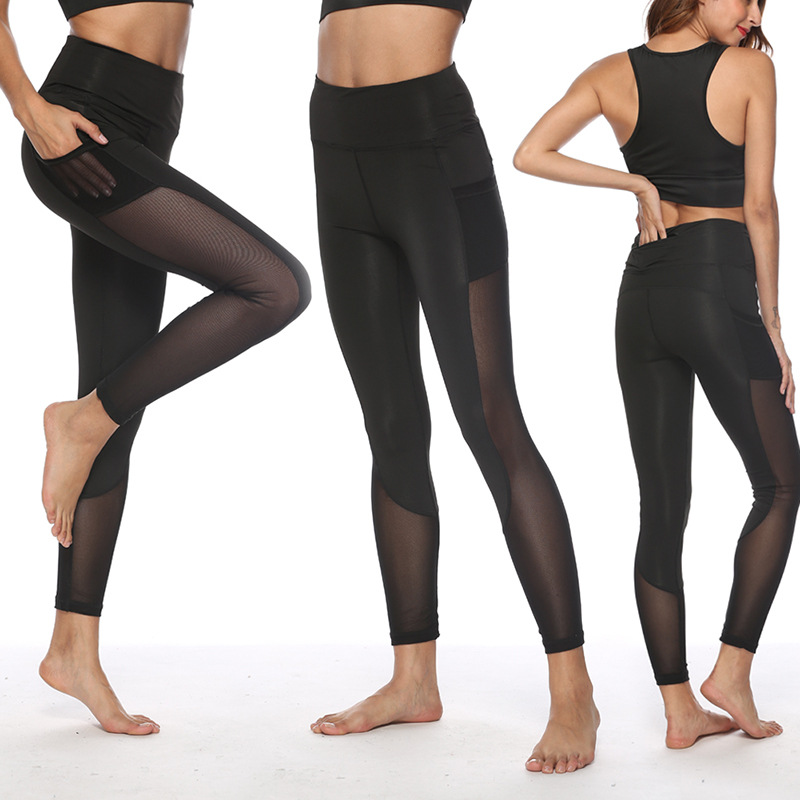 New High Waist Slim Leggings For Women Dancing Wear Plus Size Mesh Patchwork Footless With Multi-pocket Pants Gotico Woman
