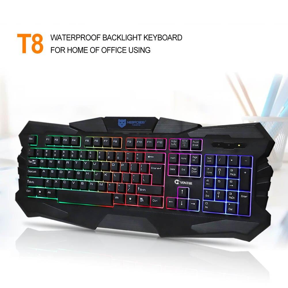 vontar t18 m200 wired gaming keyboard usb wired with colorful backlight backlit for mac desktop. Black Bedroom Furniture Sets. Home Design Ideas