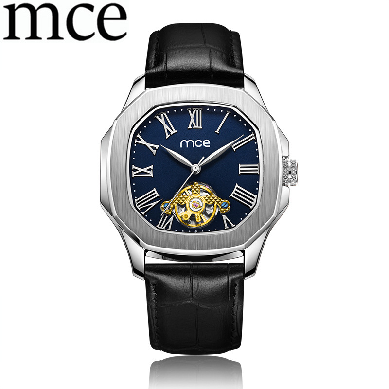 Women's Watches Clock Automatic Mechanical Square Leather Watches Relogio Feminino Skeleton Hollow MCE Women Tourbillon Watch