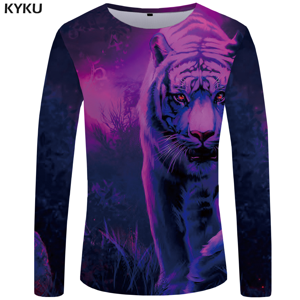 7a4c0e1885f5 KYKU Tiger T shirt Men Long sleeve shirt Animal Rock Fish Tee Cloud Anime  Ocean 3d T shirt Cool Mens Clothing Fashion Male-in T-Shirts from Men s  Clothing ...