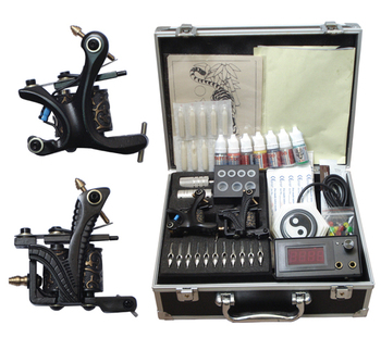 machine tattoo kit digital tattoo machine gun set permanent makeup machine kit with tattoo supply box