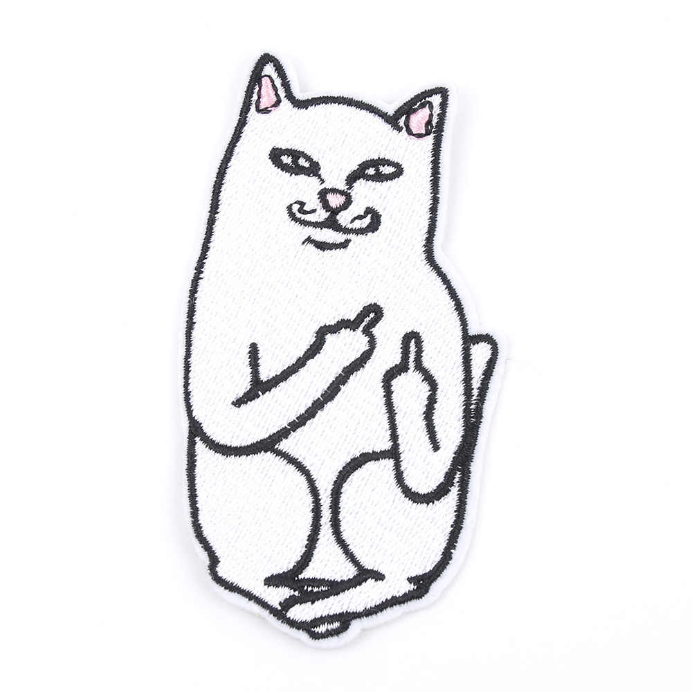 1Pcs Cat with The Finger Funny Embroidered Patch Iron on Sewing Applique Clothes Shoes Bags Decoration Patch Apparel DIY Patches