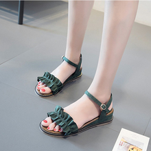 2019 Fashion Women Sandals Med Heels Green/Black/Apricot Spring/Summer Female Shoes Casual Lady Woman Footwear