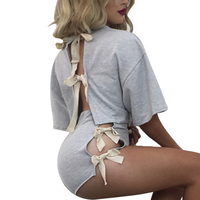 White Bow Elegant Jumpsuit Romper Two Piece Suit Overalls Sexy Summer Beach Playsuit Women Outfit