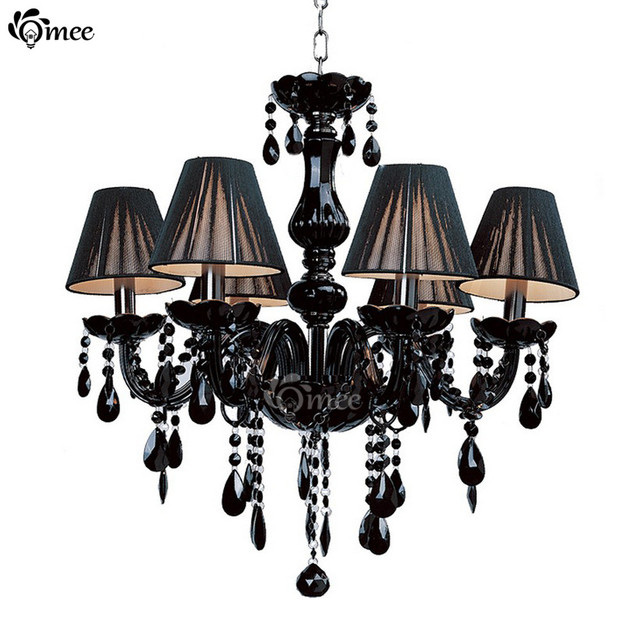 Modern Black Crystal Lights Chandelier Pendant Lamp Dining Room Res Cristal Living Lobby Lighting Foyer E14