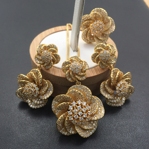 Image 3 - Lanyika Jewelry Set Vivid Spiral Stereo Flowers Necklace with Earrings and Ring Cubic Zircon Micro Paved for Party Bridal Gift