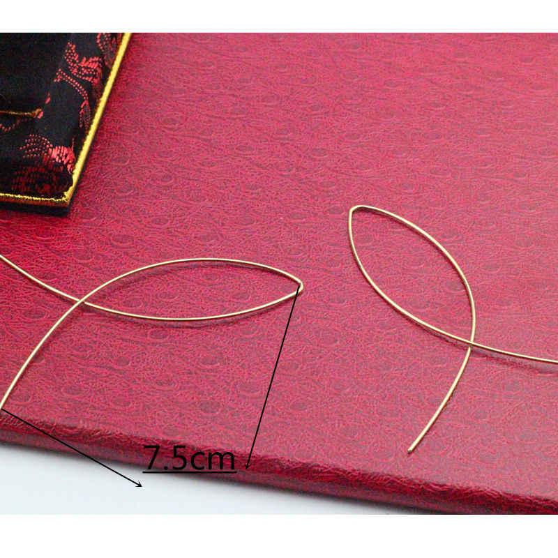 Bijoux indiens nouvelle mode Simple minimaliste bijoux poisson fil boucles d'oreilles pour femmes argent or boucles d'oreilles femmes cadeaux e019