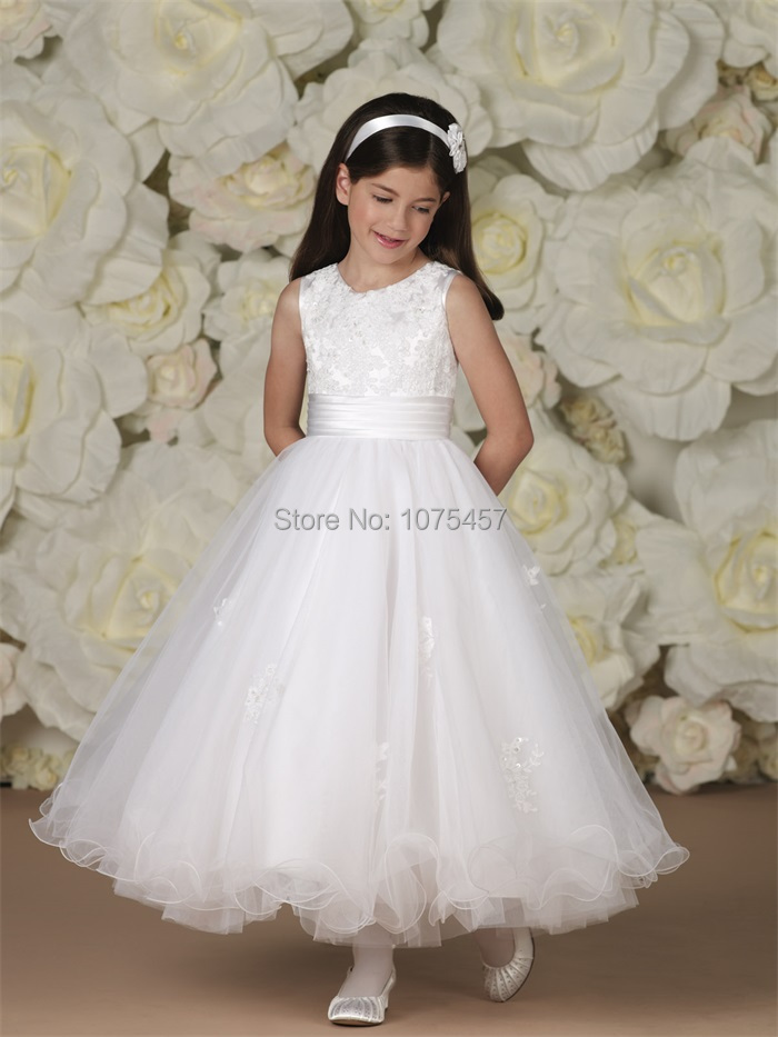 Latest Design White Flower Girls Dress with Sashes 2015 Princess Girl First  Communion Dress Organza Vestido De Festa MF300. Latest Design Princess Flower Girl Dress 2015 Top Lace Toddler