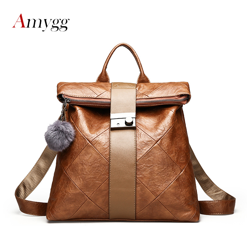 AMYGG PU Leather Women Backpack School Bags For Teenagers Girls Fashion Vintage Anti-theft Shoulder bags Brand Mochila Feminine fashion women leather backpack rucksack travel school bag shoulder bags satchel girls mochila feminina school bags for teenagers