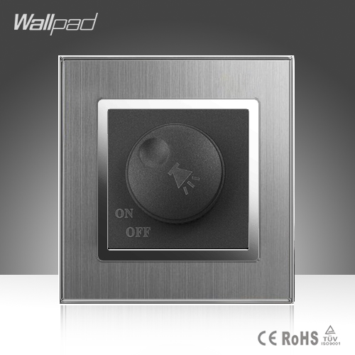 Voice Switch Wallpad Luxury 110-250V Brushed Metal UK EU Standard Rotray Voice Tuning Volume Control Wall Switch tv data socket wallpad luxury 110 250v brushed metal uk eu standard television and data rj45 lan cable jack wall socket