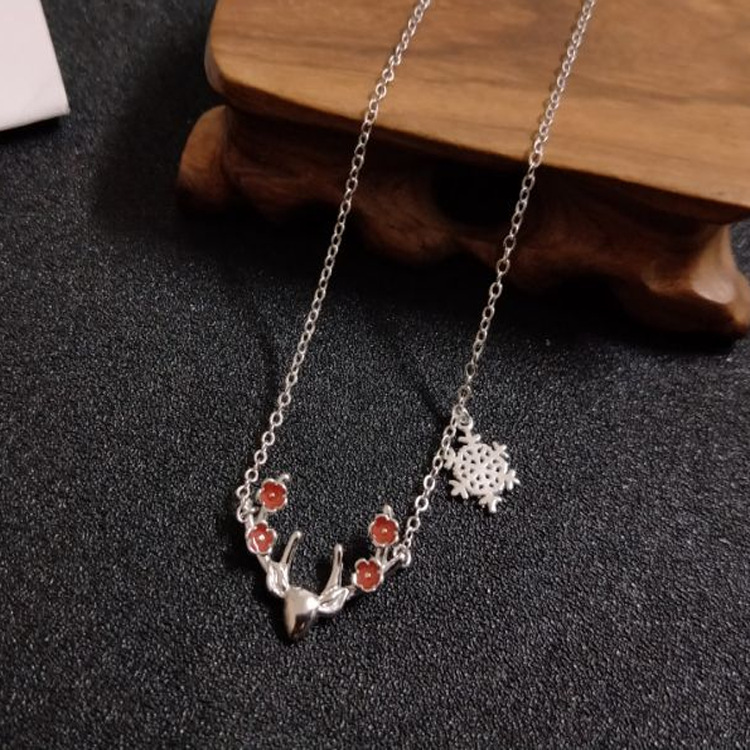 925 silver cute two-color antler snowflake sika deer female short clavicle chain JCS07 sika deer style rhinestone zinc alloy brooch golden