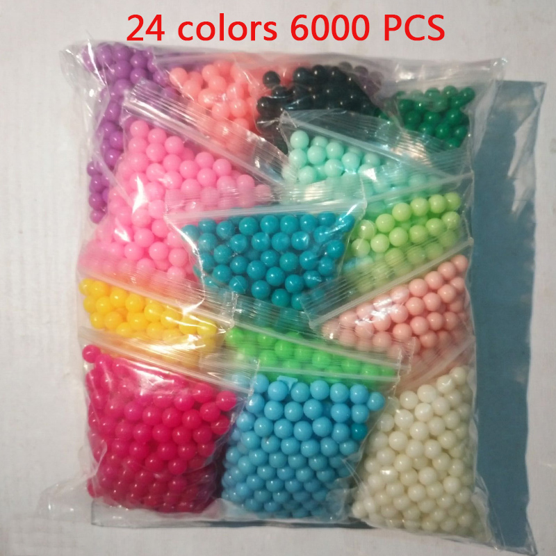6000pcs 24 colors beads puzzle Crystal color Aqua DIY beads water spray set ball games 3D handmade magic toys for children