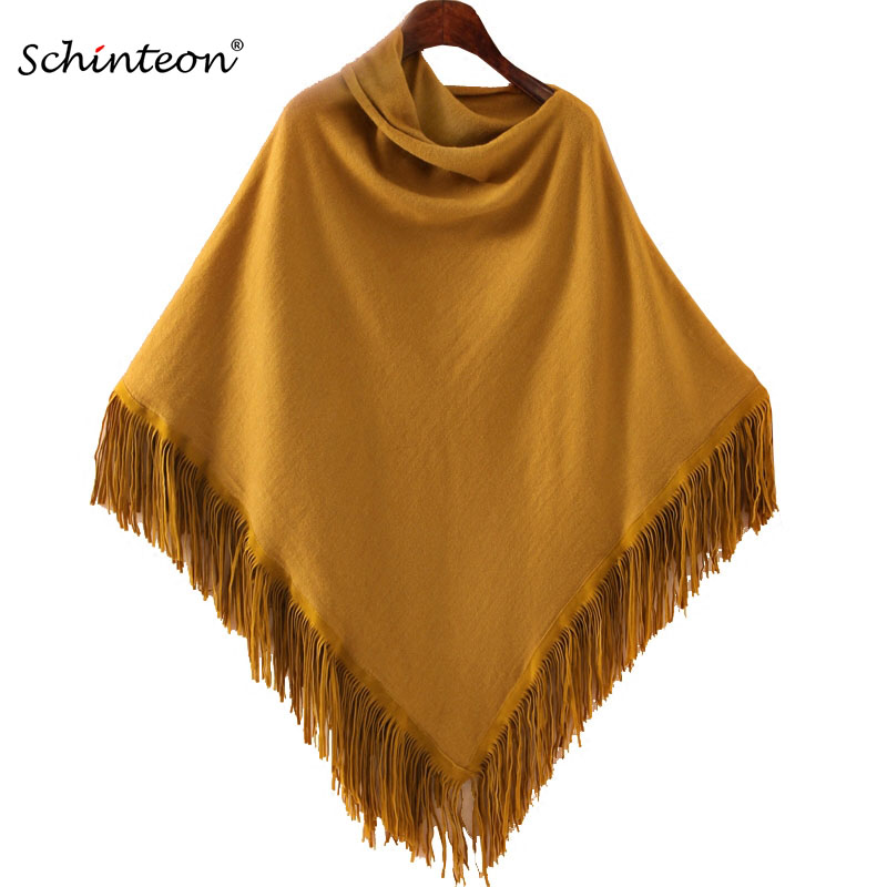 Schinteon Women Poncho Cloak Pullover Coats Knitwear