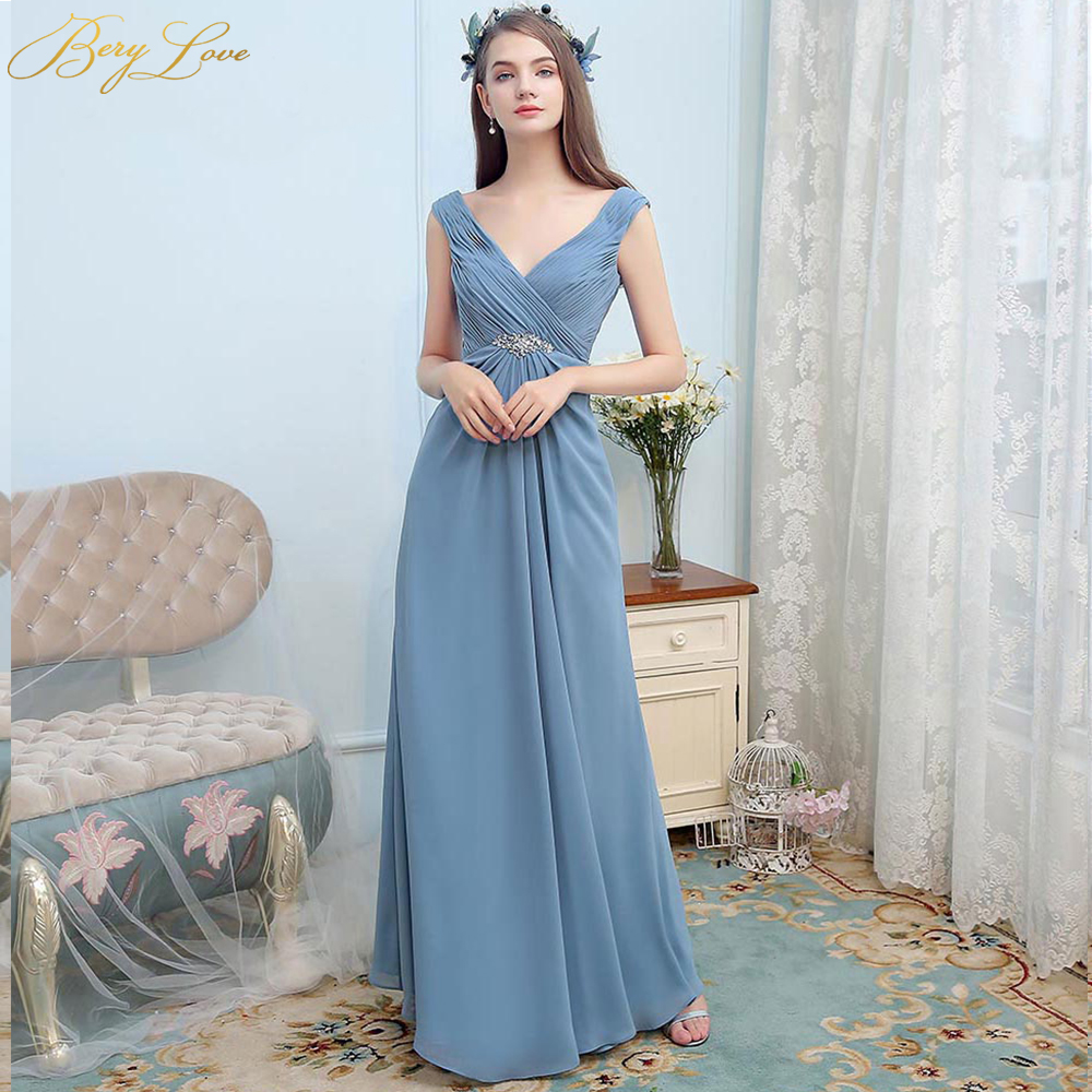 BeryLove Long Dusty Blue   Dress     Bridesmaid   V Neck Beach Wedding Party   Dress   2019 Empire Chic Cheap Women Formal   Bridesmaid     Dress