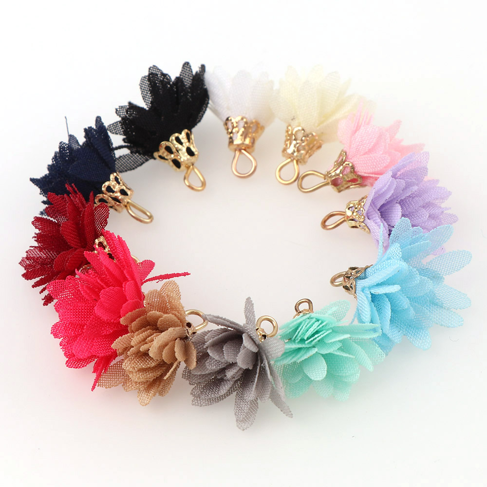 20pcs Mix Color Silk Satin Fabric Flower Tassel Charms 20mm Flower Tassel For Keychain Cellphone Straps Jewelry