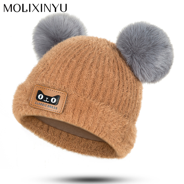 c76822239ad MOLIXINYU Kid Baby Winter Fur Ball Knit Hat Kids Warm Double Fur Pom Poms Hat  Baby