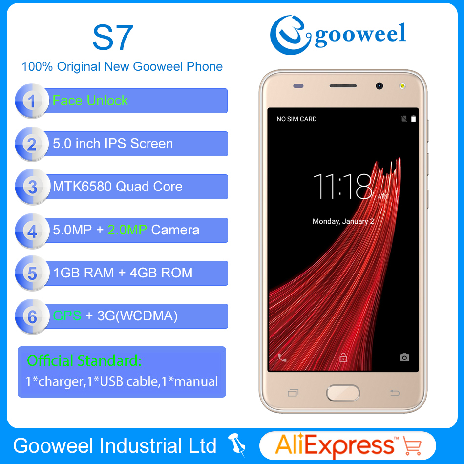 Gooweel S7 3G Smartphone MTK6580 Quad core 5.0 inch IPS Screen Face ID mobile phone 5MP+2MP Camera GPS unlocked Cell phone