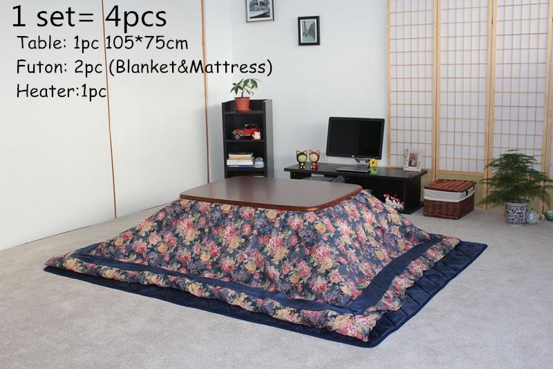 US $649.0 |(4pcs/set)Japanese Kotatsu Set Table Futon Heater Luxury Living  Room Furniture Kotatsu Set Warmer Wooden Table 105cm Walnut-in Living Room  ...