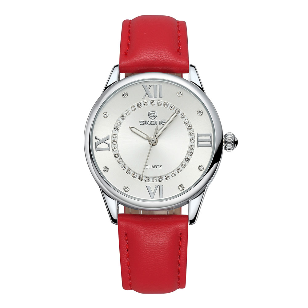 ФОТО SKONE Women Soft Red PU Leather Band Analog Quartz Wrist Watch Rhinestone Crystal Luminous Roman Number Watches Relogio flamengo