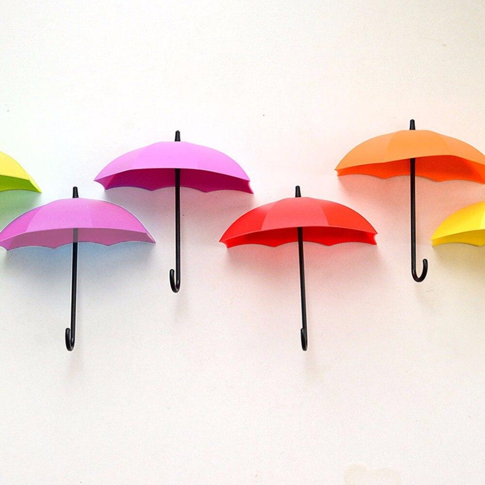 3Pcs Colorful Umbrella Wall Hook Key Hair Pin Holder Organizer Decorative Pothook Hanger