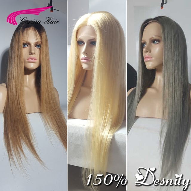 150% density Carina Hair Brazilian Virgin Human Hair Wigs Full Lace Wigs Pure 613 Lace Front Wigs With Baby Hair Glueless Wigs