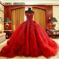 Charming Ball Gown Red Wedding Dresses Sexy Sweetheart Appliques Beaded Long Tulle Bridal Gowns 2015 Vestidos De Noiva Vermelho