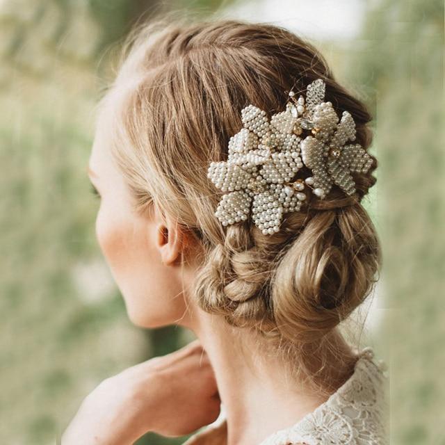 Handgefertigte Kleine Perle Braut Kamme Hochzeit Kopfschmuck Party