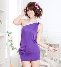 Wholesale 4 pc/lot The new ultra-thin sexy lingerie low-cut shoulder straps chiffon nightdress pajamas ultrashort112510