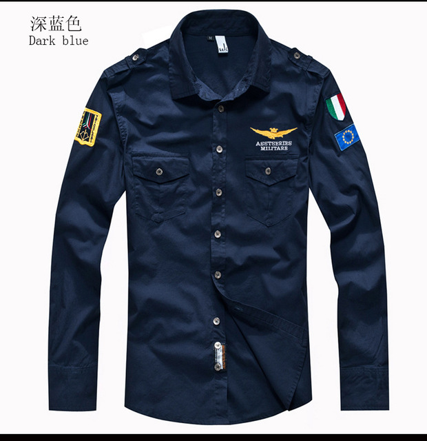 2018 shirt air force one men shirt long sleeve slim fit aeronautica militare men dress shirt 4XL camisas hombre camisa masculina 1