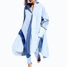 Корея Стиль Весна Лето Новая Мода Негабаритных Белый Синий Рубашка С Длинными рукавами Свободные Длинные Рубашки Блузка