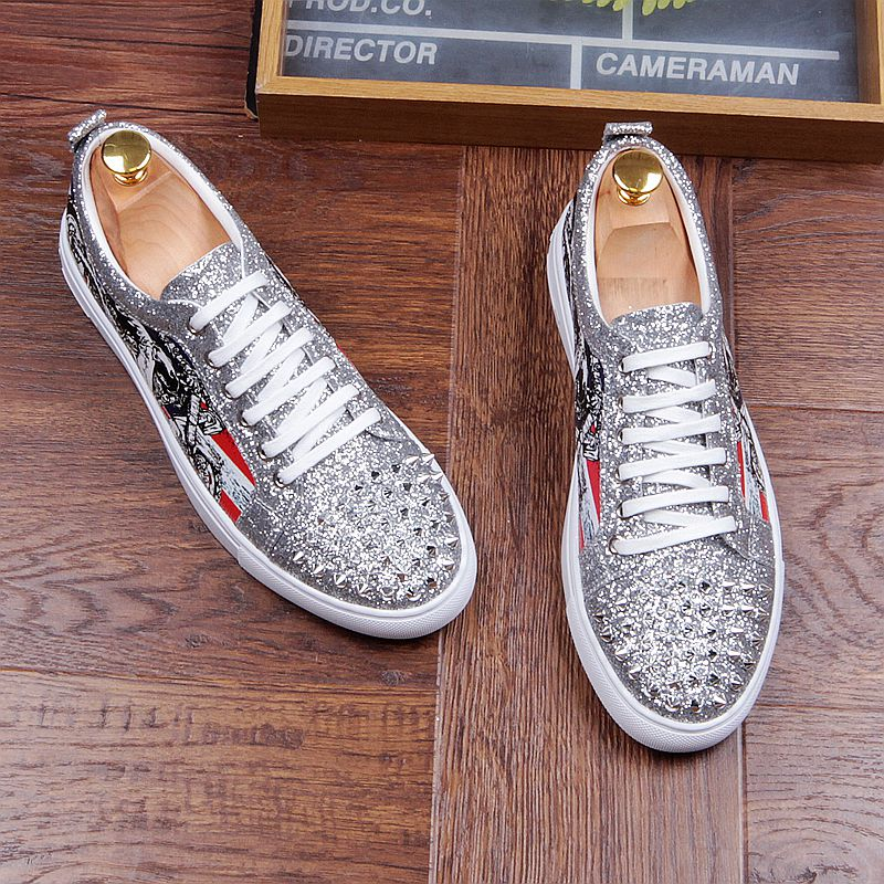 Fashion Men's Sneakers Studded Rivets Casual Black Round Toe Shoes Man Heavy Bottom Lace Up Male Flats Zapatos Hombre-in Men's Casual Shoes from Shoes on Aliexpress.com | Alibaba Group 38
