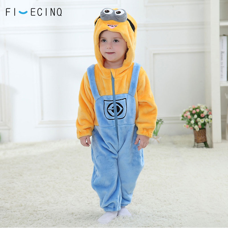 Baby Bodysuit Minions Kigurumis Anime Cartoon Cosplay Costume Infant Onesie Winter Sleep Play Game Jumpsuit Funny Pajama Flannel