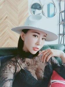 Image 3 - Edycja han standardowy biały kapelusz z wełny Fedoras nowa anglia jesienno zimowa nitowa czapka przypływ męskie kapelusze damskie