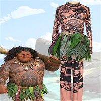 American Superhero muscle clothing Princess Moana cosplay costume Adult full set with Maui Halloween adult cos cartoon suit