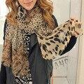 Venta caliente de la Bufanda de la Cachemira de La Gasa de Seda Bufanda Animal Print Estilo Super Estrella Del Mantón Del Leopardo Diseñador de la Marca Bufanda Bufandas y Estolas