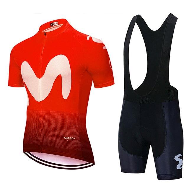 2019 Homens Movistar Ciclismo jersey Conjuntos de Manga Curta Respirável MTB Ciclismo Bicicleta Vestuário Ciclo Sportswear Ropa ciclismo 3