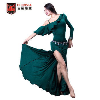 NEW Women 2018 Belly Dance Costumes Practice Club Stage Long Dress Modal M L
