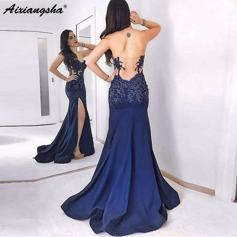 Navy Blue   Evening     Dresses   2019 Sweetheart Slit Backless Mermaid Satin Islamic Dubai Saudi Arabic Long   Evening   Gown Prom   Dress