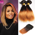 Ombre Peruvian Straight Virgin Hair With Closure 4 Bundle With Closure Straight Bob Extensions Short Ombre Blonde Bob Human Hair