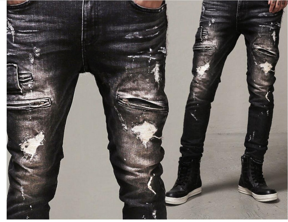 ФОТО HOT New 2017 autumn and winter Slim Straight Men Frazzle trousers hole black jeans locomotive jeans singer costumes denim pants