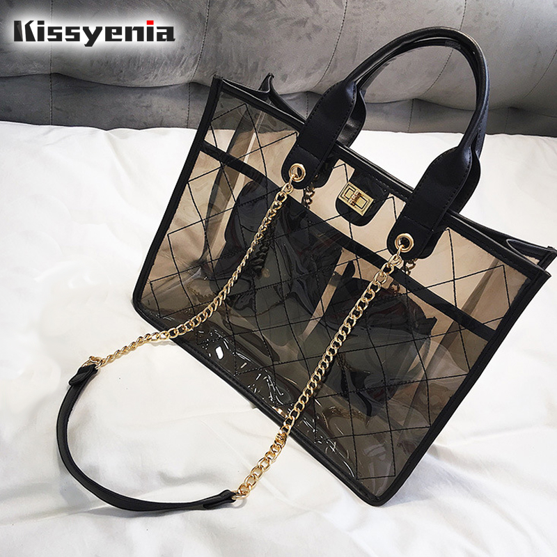 Kissyenia 2018 Luxury Brand Transparent Tote Women INS Hot Jelly Chain Shoulder Bags Women Summer Beach Bag Shopping Bag KS1227 zhierna new summer korean chain single shoulder bag big handbag fashion picture bags women jelly crystal transparent beach bag