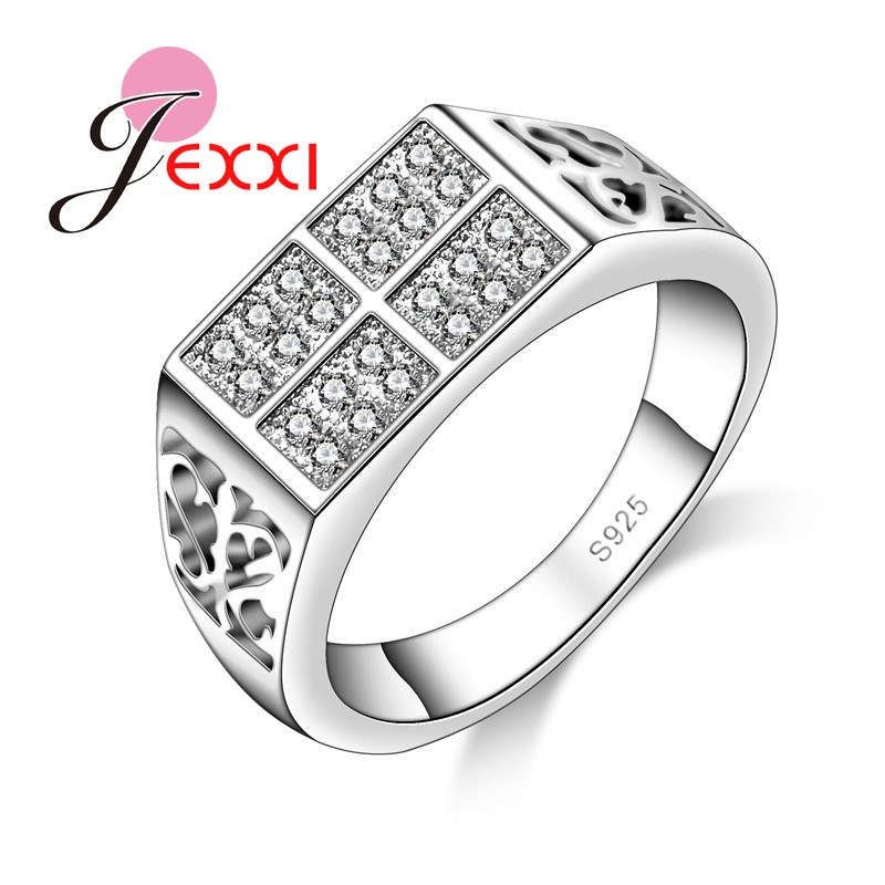 b0ba5828e JEXXI 925 فضة مجوهرات مكعب الزركون خواتم للنساء والرجال أزياء كاملة واضح  كريستال البنصر بيجو