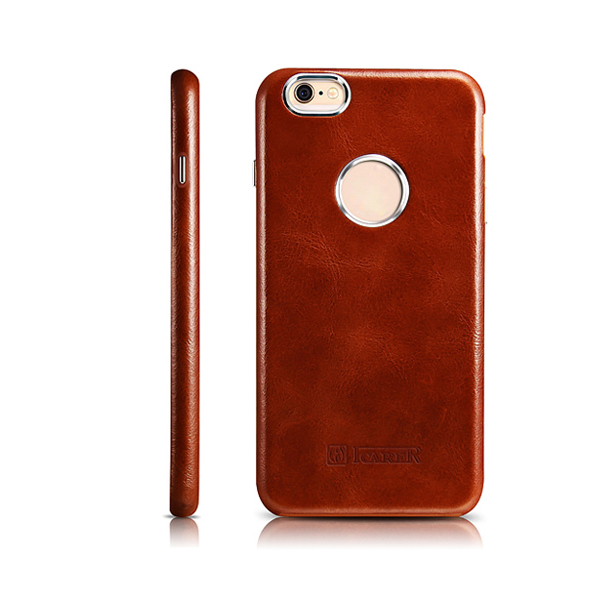 Pro iPhone 6s Pouzdro ICARER Retro Originální Pravá Kůže Celá Krytka Duté Logo Zadní Pouzdro pro iPhone 6 Pouzdro 4.7 ''